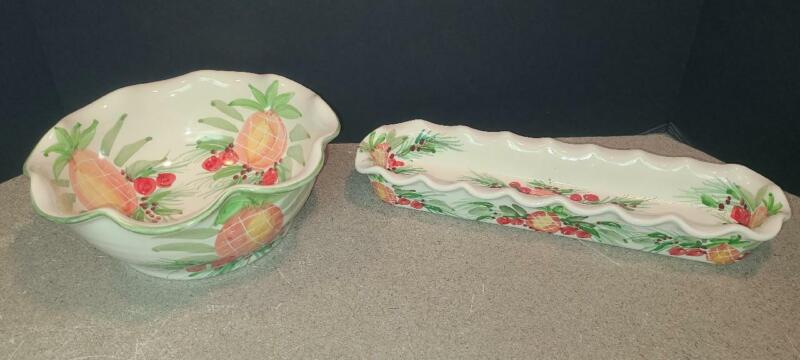 """JAN PUGH Packer Creek Pottery Hand Painted 9 1/4"""" PINEAPPLE BOWL + TRAY Retired"""
