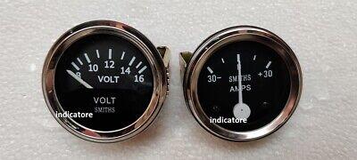 Smiths 52mm  Volt Gauge with 30 amp Ampere Gauge meter Black Chrome