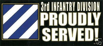 3RD INFANTRY DIVISION Proudly Served Veteran BUMPER