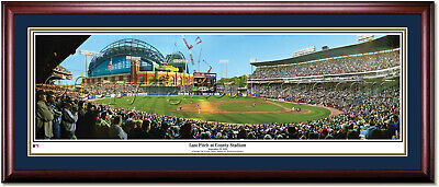 Milwaukee Brewers Last Pitch at County Stadium Framed Panoramic Print