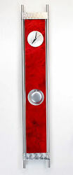 Contemporary Metal Abstract Red Modern Wall Clock Home Decor - Reflecting Time