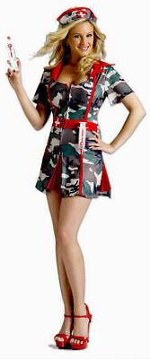 NEW Fun World Sexy Camo Army Military Nurse Medic Soldier Women Costume Size - Army Nurse Costume