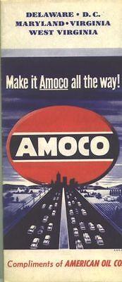 1950s Amoco Delmarva Vintage Road Map