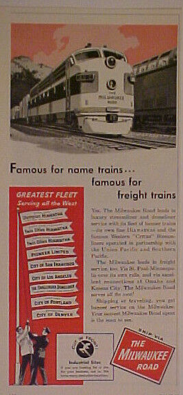 1956 CHICAGO~MILWAUKEE RAILROAD~TRAIN GREATEST FLEET AD