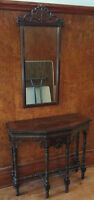 ANTIQUE HALL TABLE AND MIRROR