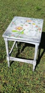 Hand-painted wood side Table
