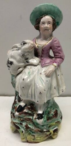 Very Good Staffordshire Figure Woman With Rabbit