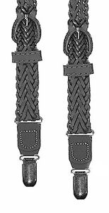 BRAIDED LEATHER SUSPENDERS - CLIP ON / Y-BACK - BLACK - 1 SIZE - ADJUSTABLE