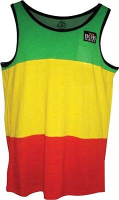 - AUTHENTIC BOB MARLEY STRIPE RASTA TANK REGGAE ADULT MENS TANK TOP SHIRT S-XXL