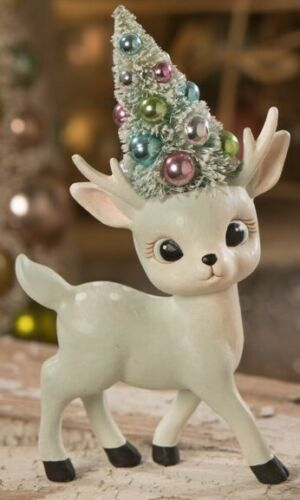 NEW Bethany Lowe Pastel Reindeer Bottle Brush Tree Christmas Figure TL9414 Boy