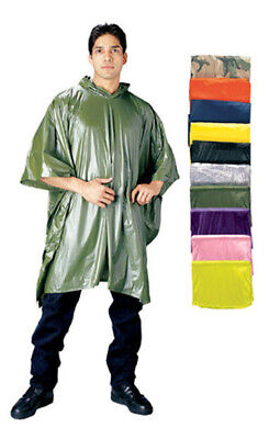 Wet Weather Rain Poncho Waterproof Vinyl With Carry Pouch 50