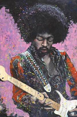 Jimi Hendrix Jamming On The Guitar Colorful Drawing 24 X 36 Poster Rock Music