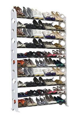 NEW 50 Pair 10 Tier Free Standing Shoe Tower Space Saving Rack Organizer, White