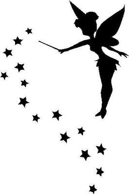Fairy silhouette with stars vinyl decal/sticker car truck window fantasy magic - Fairy Stickers