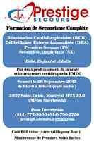 Cours de RCR Complète (8h) Places Limités pour 26 Septembre!