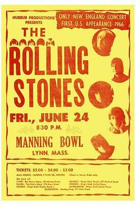 The Rolling Stones POSTER Very EARLY Live US Concert Tour 1966 Mick Jagger
