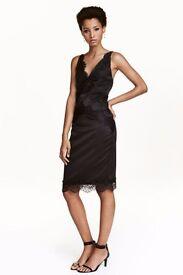 Satin dress with lace details H&M