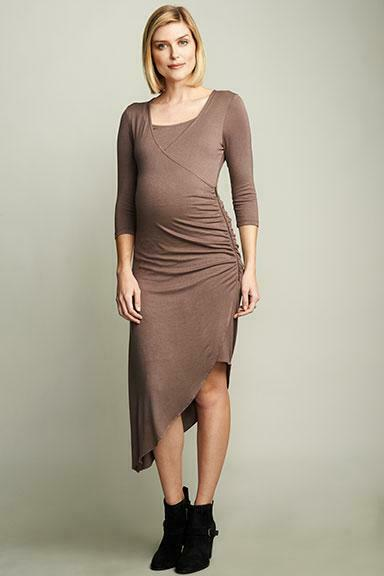 Maternal America Smokey Brown Maternity-Nursing Dress