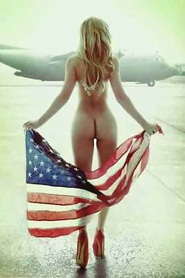 American Flag Babe   Bomber 24 X 36 Poster For The Man Cave