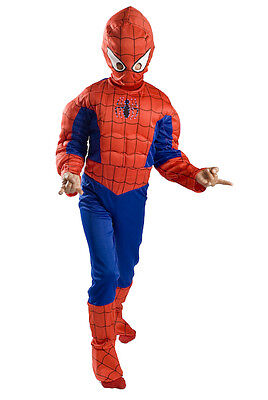 Spiderman Muscle Costume Boys kids light up Size S M FREE MASK 4 5 6 7 8 9