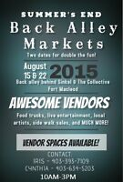 Sell your creations at THE BACK ALLEY MARKET