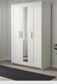 IKEA. BRIMNES. White triple wardrobe with mirror. Small faults.