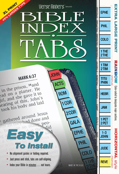 EXTRA Large Print Bible Index Tabs Rainbow LONG LASTING Full Set EZ Install -NEW