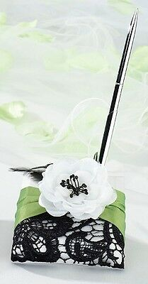 Green & Black Lace Wedding Pen & Base Set Signature White Satin Lace Feathers