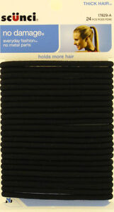 SCUNCI NO DAMAGE BLACK THICK HAIR ELASTICS - 24 PK. (17829-A)