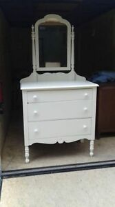 Antique, solid wood dresser with mirror