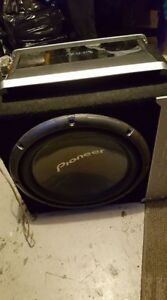 "Infinity Kappa one amplifier and 12"" pioneer subwoofer w/ box"