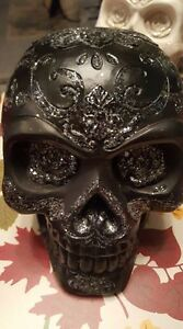 3 BEAUTIFUL SKULLS MADE FROM CERAMIC 10.00 EACH 8 INCHES TALL