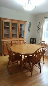Country Style Oak Dining Set, Including Buffet & Hutch