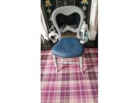 Gorgeous vintage small chair,beautiful back,painted with chalk French grey