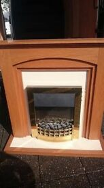 ELECTRIC GOLD FIRE & SURROUND SANDY COLOUR IN EXCELLENT MINT CONDITION CAN DELIVERY FREE MANCHESTER
