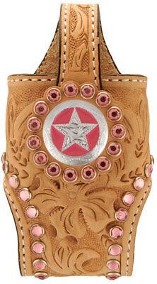 Cowboy Decor Rhinestone Cell Phone Holder Pink ()