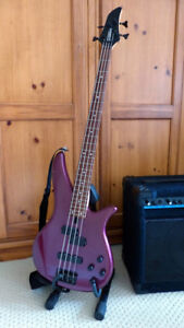 Electric Bass Guitar and Amp