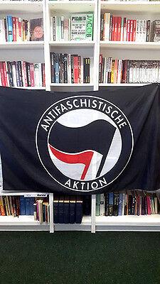 ANTIFA - Anti Fascist Action Black flag 5 feet x 3 feet ultras