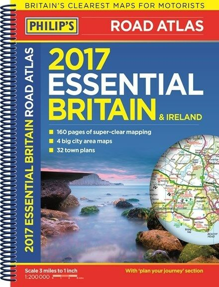 Philip's 2017 Essential Britain & Ireland Road Atlas *FREE SHIPPING - NEW*