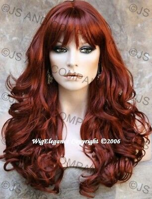 WOW ABSOLUTE BEAUTY Long Wavy Curly Copper Red Wig WACA 130 with Bangs (Long Red Wig With Bangs)