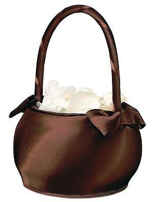 Chocolate Brown Satin Flower Girl Basket Wedding Ceremony Aisle Beautiful