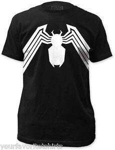Venom-Suit-Symbol-Spider-man-Licensed-Marvel-Comics-Adult-Shirt-S-3XL