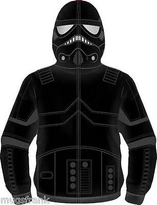 Star Wars Shadow Trooper Costume Zip up Eye Holes Hoodie Jacket Shirt - Star Wars Costume Hoodie