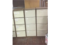 3 X Bisley brown 4 drawer filing storage cabinets. Delivery.