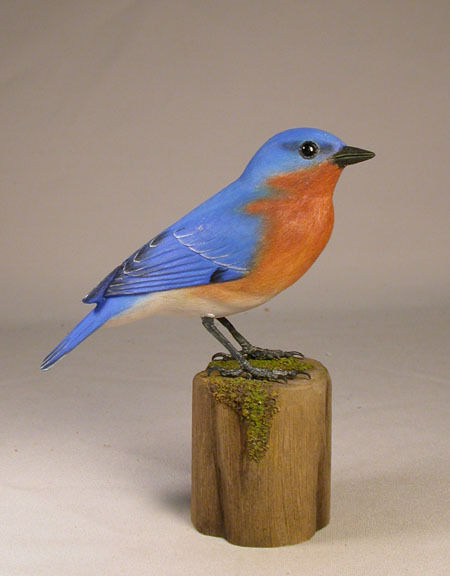 Male Eastern Bluebird Original Bird Carving/Birdhug