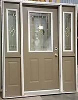 Exterior door with two sidelights