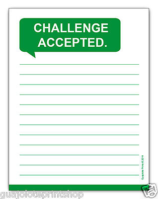 Challenge Accepted Funny Note Pad Memo Grocery List - Affordable Gag Gift Idea