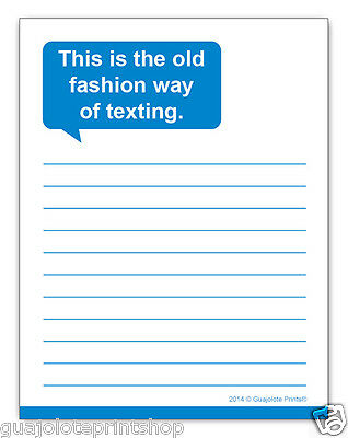 Old Fashion Texting Funny Notepad Writing Note Pad Gag Gift By Guajolote Prints