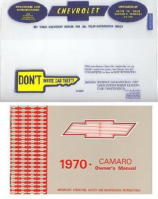 1970 70 Camaro/ss/z28 Owner's Manual And Cover