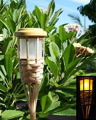 - 6 Solar 5-LED Flickering Amber Bamboo Tiki Torch Landscape Stake Light 62